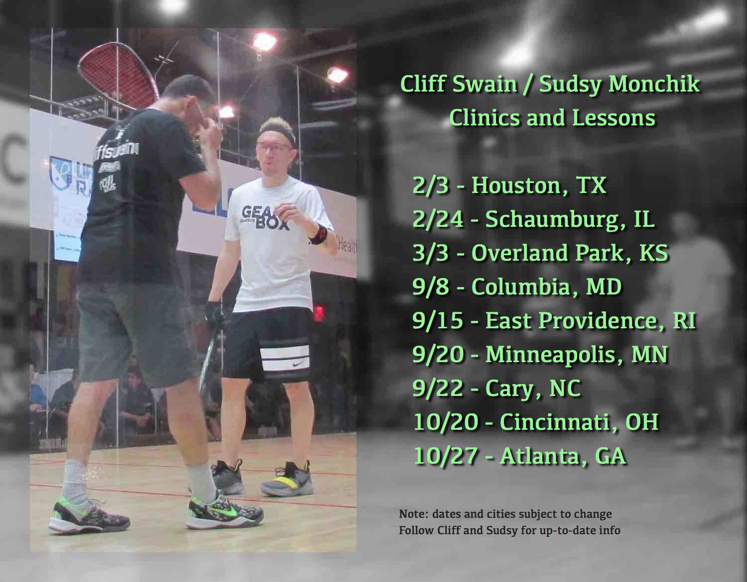 Cliff Swain and Sudsy Monchik Racquetball Clinics